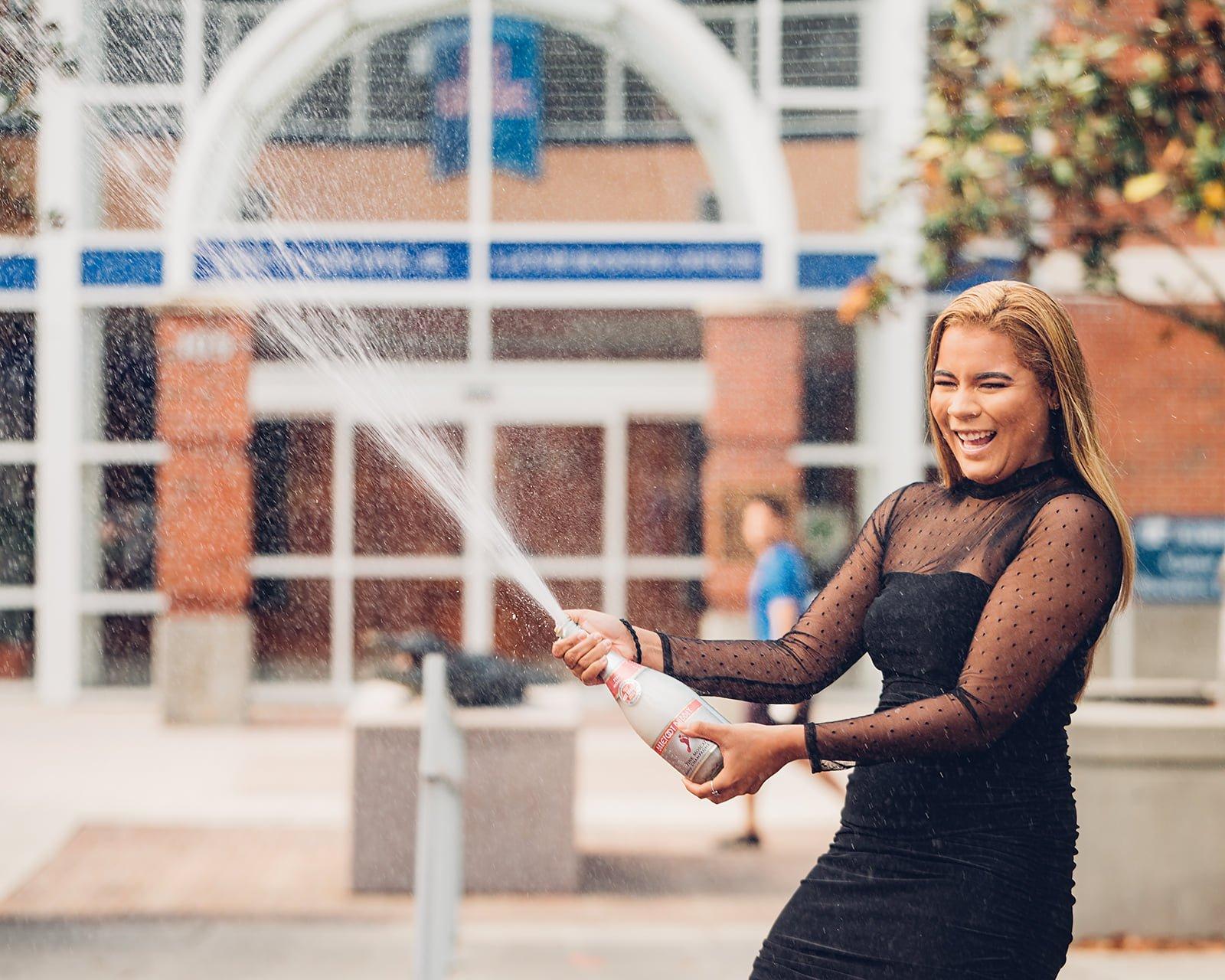 Champagne shower graduation shoot.
