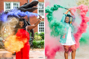 Women surrounded by colorful smoke