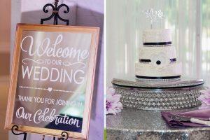 Wedding greetings and wedding cake.