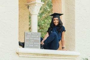 graduation photo with prop